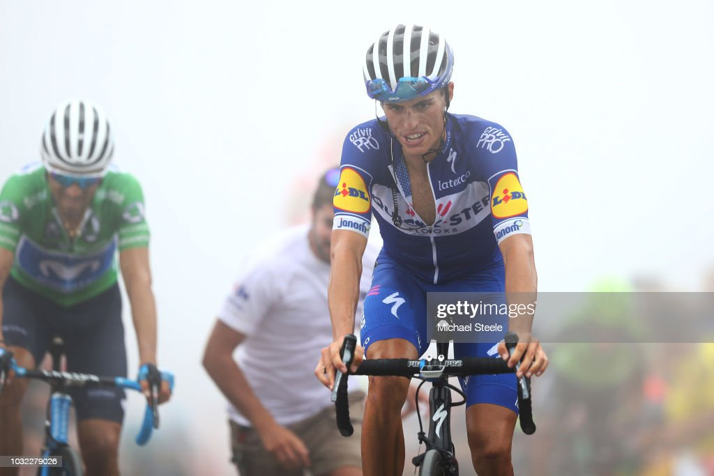 5be4dba45 Arrival   Alejandro Valverde of Spain and Movistar Team Green Points ...