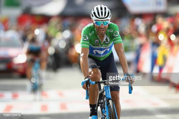 Arrival / Alejandro Valverde of Spain and Movistar Team Green Points Jersey / during the 73rd Tour of Spain 2018 Stage 19 a 1544km stage from Lleida...