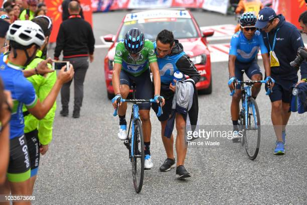 Arrival / Alejandro Valverde of Spain and Movistar Team Green Points Jersey / Nairo Quintana of Colombia and Movistar Team / during the 73rd Tour of...