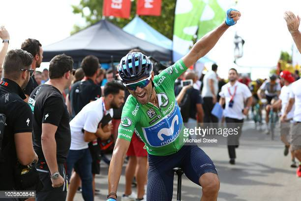 Arrival / Alejandro Valverde of Spain and Movistar Team Green Sprint Jersey / Celebration / during the 73rd Tour of Spain 2018 / Stage 8 a 195,1km...