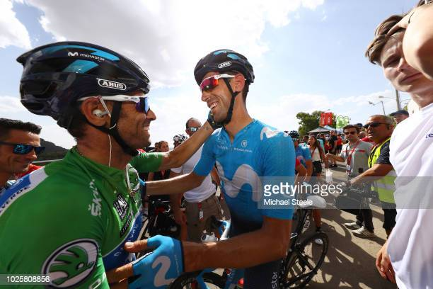 Arrival / Alejandro Valverde of Spain and Movistar Team Green Sprint Jersey / Imanol Erviti of Spain and Movistar Team / Celebration / during the...