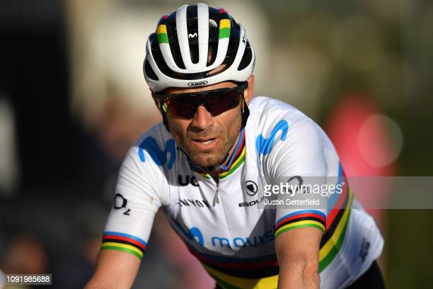 Arrival / Alejandro Valverde of Spain and Movistar Team World Champion jersey / during the 28th Mallorca Challenge 2019 - Trofeo Lloseta, a 172,4km...