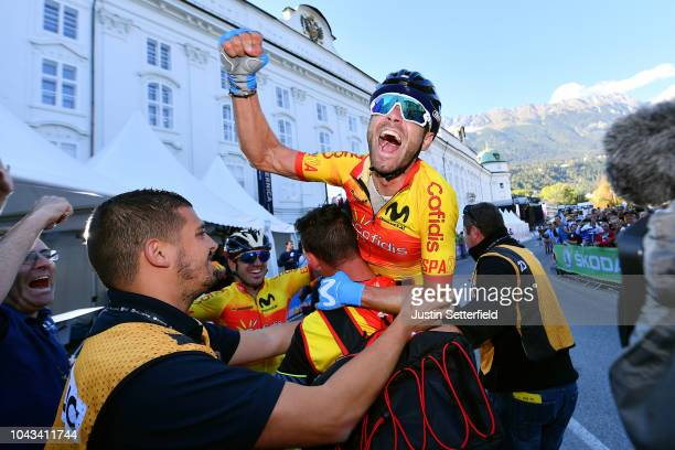 Arrival / Alejandro Valverde of Spain / Celebration / during the Men Elite Road Race a 258,5km race from Kufstein to Innsbruck 582m at the 91st UCI...
