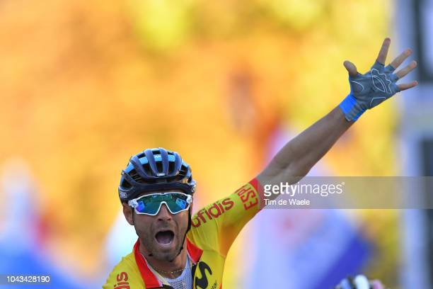 Arrival / Alejandro Valverde of Spain Celebration / during the Men Elite Road Race a 2585km race from Kufstein to Innsbruck 582m at the 91st UCI Road...