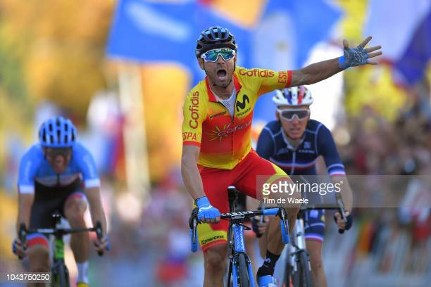 Arrival / Alejandro Valverde of Spain Celebration / Romain Bardet of France / Michael Woods of Canada during the Men Elite Road Race a 258,5km race...