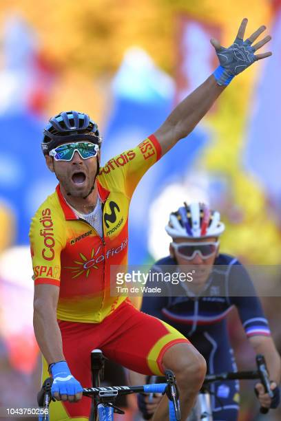 Arrival / Alejandro Valverde of Spain Celebration / Romain Bardet of France / during the Men Elite Road Race a 2585km race from Kufstein to Innsbruck...