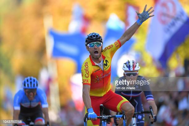 Arrival / Alejandro Valverde of Spain Celebration / Romain Bardet of France / Michael Woods of Canada during the Men Elite Road Race a 2585km race...