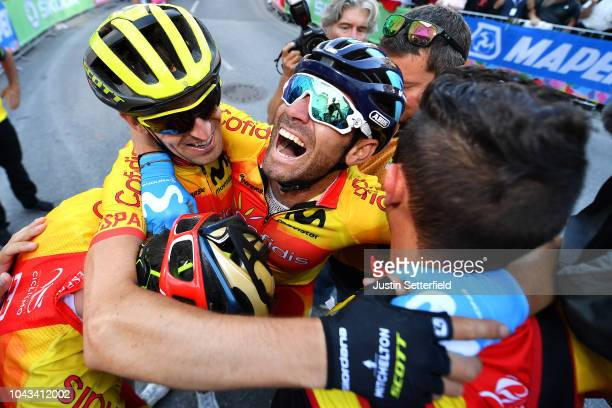 Arrival / Alejandro Valverde of Spain / Mikel Nieve Iturralde of Spain / David De La Cruz of Spain / Celebration / during the Men Elite Road Race a...