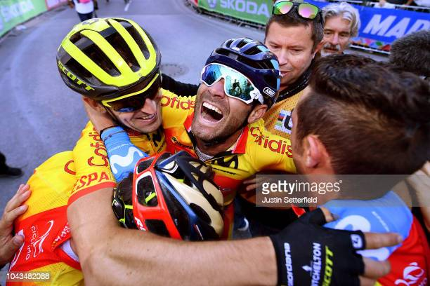 Arrival / Alejandro Valverde of Spain / Mikel Nieve Iturralde of Spain / David De La Cruz of Spain / Celebration / during the Men Elite Road Race a...
