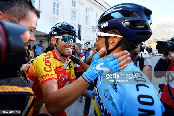 Arrival / Alejandro Valverde of Spain / Nairo Quintana of Colombia / Celebration / during the Men Elite Road Race a 2585km race from Kufstein to...