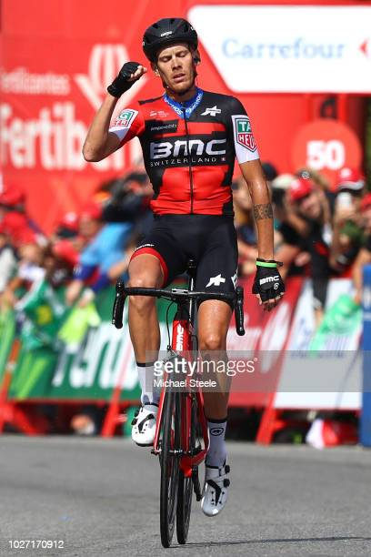 Arrival / Alessandro De Marchi of Italy and BMC Racing Team / Celebration / during the 73rd Tour of Spain 2018 Stage 11 a 2078km stage from Mombuey...