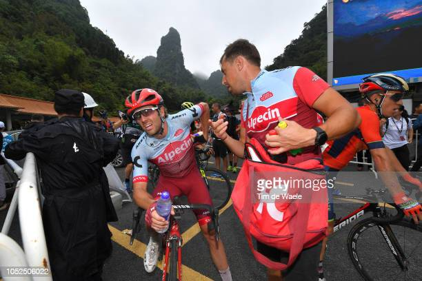 Arrival / Alex Dowsett of Great Britain and Team KatushaAlpecin / Soigneur / during the 2nd Tour of Guangxi 2018 Stage 4 a 1522km stage from Nanning...