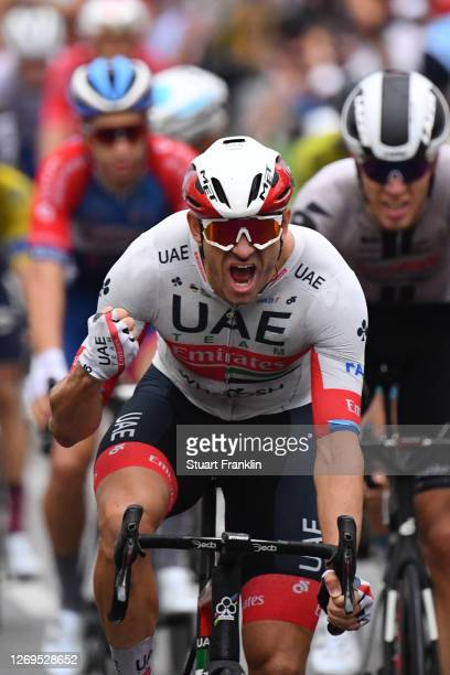 Arrival / Alexander Kristoff of Norway and UAE Team Emirates / Celebration / during the 107th Tour de France 2020, Stage 1 a 156km stage from Nice...