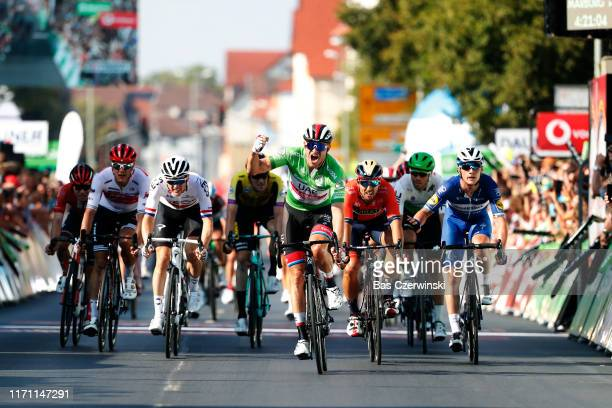Arrival / Alexander Kristoff of Norway and UAE - Team Emirates Green Sprint Jersey / Celebration / Sonny Colbrelli of Italy and Team Bahrain - Merida...