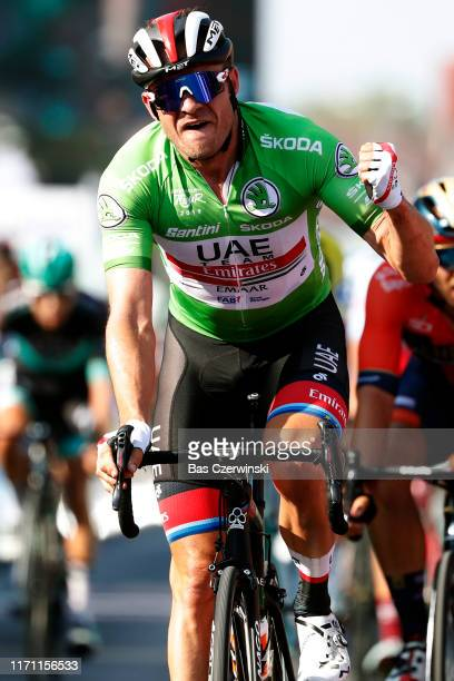 Arrival / Alexander Kristoff of Norway and UAE - Team Emirates Green Sprint Jersey / Celebration / during the 34th Deutschland Tour 2019, Stage 2 a...