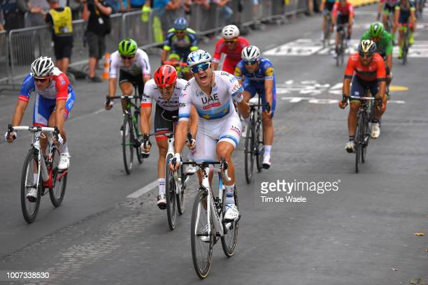 Arrival / Alexander Kristoff of Norway and UAE Team Emirates / Celebration / John Degenkolb of Germany and Team Trek Segafredo / Arnaud Demare of...