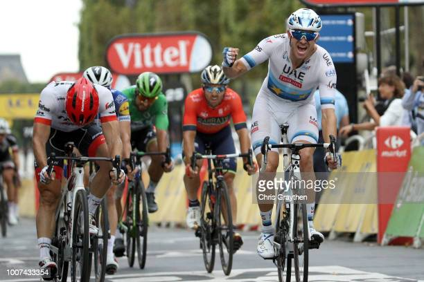 Arrival / Alexander Kristoff of Norway and UAE Team Emirates / Celebration / John Degenkolb of Germany and Team Trek Segafredo / during the 105th...