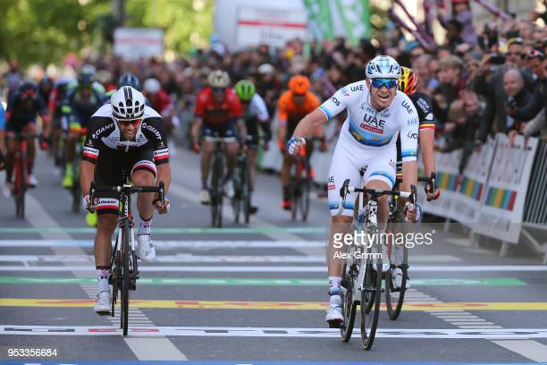 Arrival / Alexander Kristoff of Norway and UAE Team Emirates / Celebration / Michael Matthews of Australia and Team Sunweb / during the 57th Rund um...