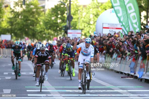 Arrival / Alexander Kristoff of Norway and UAE Team Emirates / Celebration / Oliver Naesen of Belgium and Team AG2R La Mondiale / Michael Matthews of...