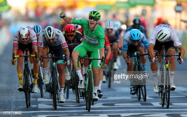 Arrival / Alexander Kristoff of Norway and UAE Team Emirates / Peter Sagan of Slovakia and Team Bora - Hansgrohe / Sam Bennett of Ireland and Team...