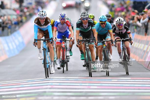 Arrival / Alexandre Geniez of France and Team AG2R La Mondiale / Davide Formolo of Italy and Team Bora-Hansgrohe / Pello Bilbao of Spain and Astana...