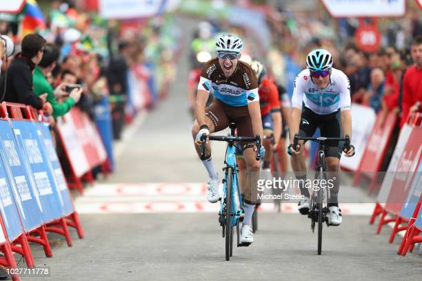 Arrival / Alexandre Geniez of France and Team AG2R La Mondiale / Celebration / Dylan Van Baarle of The Netherlands and Team Sky / during the 73rd...