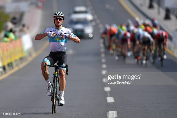 Arrival / Alexey Lutsenko of Kazahkstan and Astana Pro Team / Celebration / during the 10th Tour of Oman 2019, Stage 2 a 156,5km stage from Royal...
