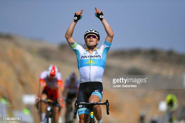 Arrival / Alexey Lutsenko of Kazahkstan and Astana Pro Team / Celebration / during the 10th Tour of Oman 2019, Stage 3 a 192,5km stage from Shati al...