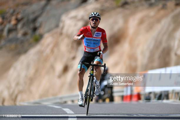 Arrival / Alexey Lutsenko of Kazahkstan and Astana Pro Team Red Leader Jersey / Celebration / during the 10th Tour of Oman 2019, Stage 5 a 152km...