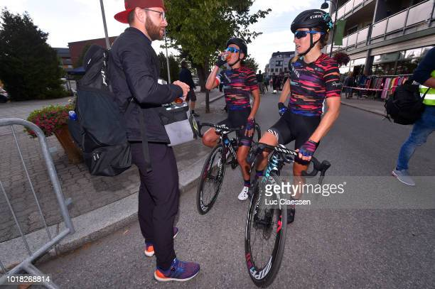 Arrival / Alexis Ryan of The United States and Team Canyon SRAM Racing / Alice Barnes of Great Britain and Team Canyon SRAM Racing / Soigneur /...