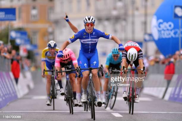 Arrival / Alvaro Hodeg of Colombia and Team Deceuninck-QuickStep / Celebration / Edward Theuns of Belgium and Team Trek-Segafredo / Sacha Modolo of...