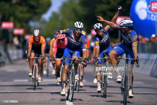 Arrival / Alvaro Hodeg of Colombia and Team Deceuninck-QuickStep / Florian Senechal of France and Team Deceuninck-QuickStep / Philippe Gilbert of...