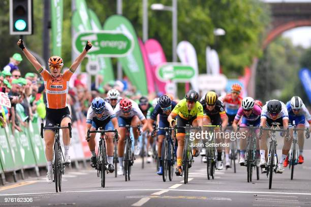 Arrival / Amalie Dideriksen of Denmark and Boels Dolmans Cycling Team / Celebration / Lotta Pauliina Lepisto of Finland and CerveloBigla Pro Cycling...