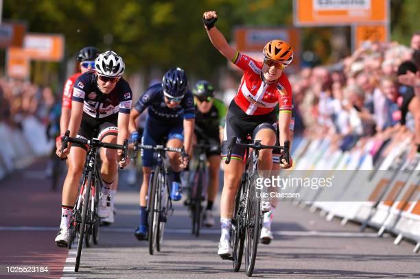 Arrival / Amalie Dideriksen of Denmark and Team Boels Dolmans Cycling Team / Celebration / Lucinda Brand of Netherlands and Team Sunweb / Lorena...