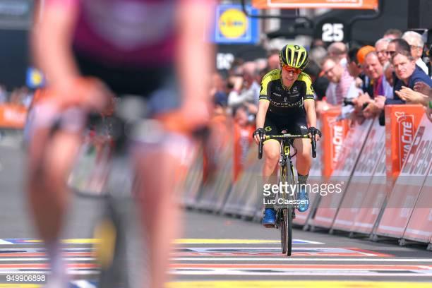 Arrival / Amanda Spratt of Australia and Team MitcheltonScott / Celebration / during the 2nd LiegeBastogneLiege 2018 a 136km women's race from...