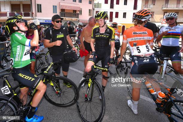 Arrival / Amanda Spratt of Australia and Team Mitchelton-Scott Green points jersey / Gracie Elvin of Australia and Team Mitchelton-Scott / Bruce...