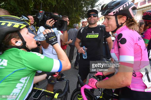 Arrival / Amanda Spratt of Australia and Team Mitchelton-Scott Green points jersey / Annemiek van Vleuten of The Netherlands and Team...