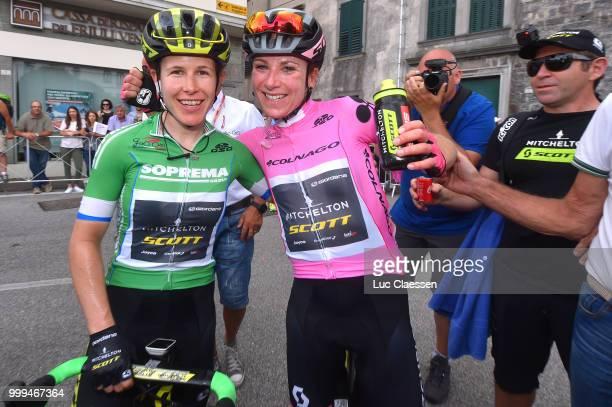 Arrival / Amanda Spratt of Australia and Team Mitchelton-Scott / Green points jersey /Annemiek van Vleuten of The Netherlands and Team...