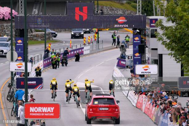 Arrival / Amund Grondahl Jansen of Norway and Team Jumbo - Visma / Dylan Groeneweger of The Netherlands and Team Jumbo - Visma / Pascal Eenkhoorn of...