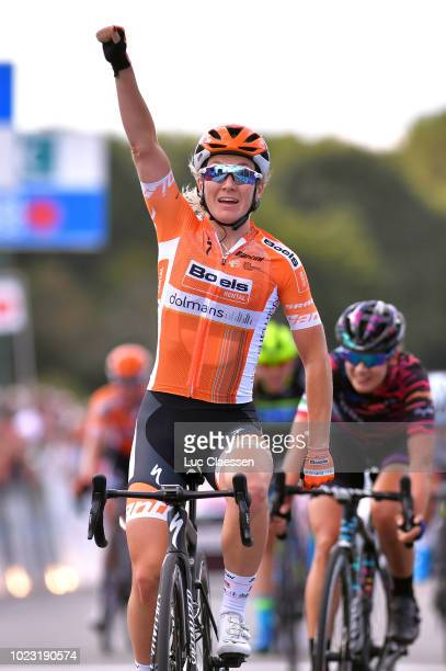 Arrival / Amy Pieters of The Netherlands and Boels Dolmans Cyclingteam Celebration / during the 20th Grand Prix De Plouay Lorient Agglo Trophee 2018...