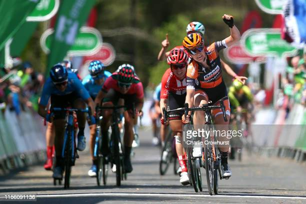 Arrival / Amy Pieters of The Netherlands and Team Boels Dolmans / Celebration / Leah Kirchmann of Canada and Team Sunweb / Roxane Fournier of France...