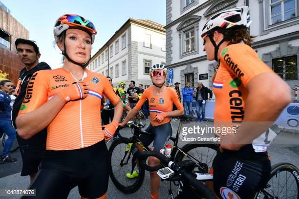 Arrival / Amy Pieters of The Netherlands / Annemiek Van Vleuten of The Netherlands / Chantal Blaak of The Netherlands / during the Women Elite Road...