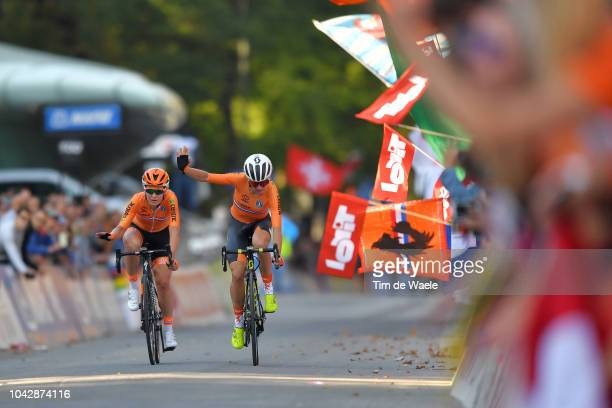 Arrival / Amy Pieters of The Netherlands / Annemiek Van Vleuten of The Netherlands / during the Women Elite Road Race a 156,2km race from Kufstein to...