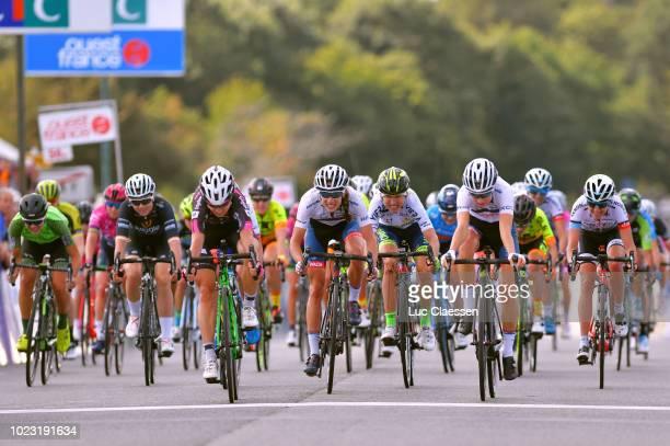 Arrival / Anastasiia Iakovenko of Russia and Team BTC City Ljubljana / Cecilie Uttrup Ludwig of Denmark and Cervelo Bigla Pro Cycling Team / Clara...