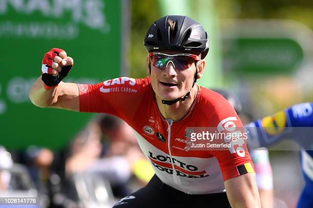 Arrival / Andre Greipel of Germany and Team Lotto Soudal Celebration / Fernando Gaviria of Colombia and Team QuickStep Floors / during the 15th Tour...