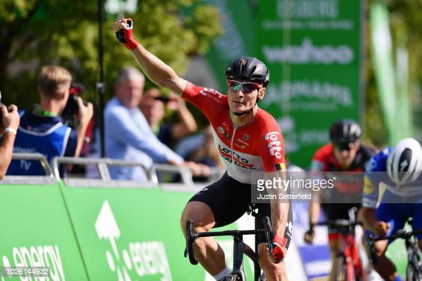 Arrival / Andre Greipel of Germany and Team Lotto Soudal Celebration / during the 15th Tour of Britain 2018 Stage 1 a 1748km stage from Pembrey...