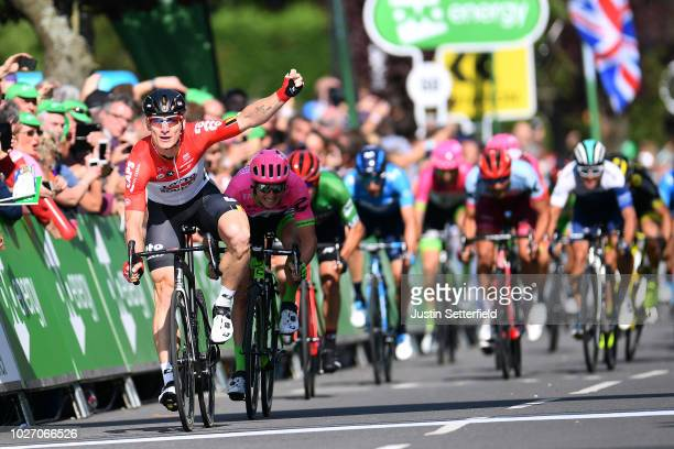 Arrival / Andre Greipel of Germany and Team Lotto Soudal / Celebration / Sacha Modolo of Italy and Team EF Education FirstDrapac p/b Cannondale /...
