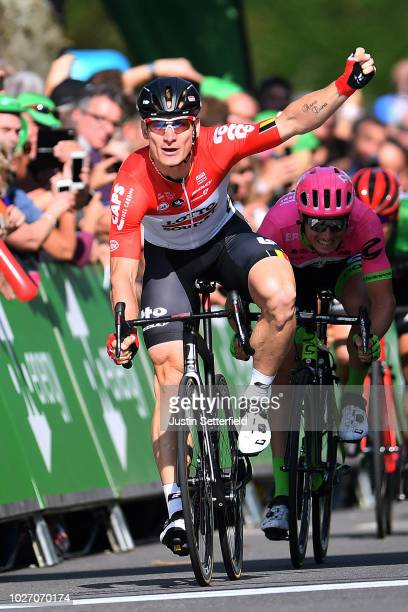Arrival / Andre Greipel of Germany and Team Lotto Soudal / Celebration / Sacha Modolo of Italy and Team EF Education First-Drapac p/b Cannondale /...