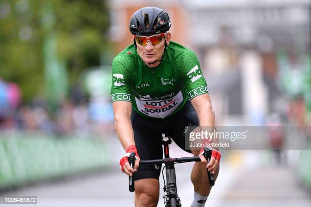 Arrival / Andre Greipel of Germany and Team Lotto Soudal Green Leader Jersey / during the 15th Tour of Britain 2018 Stage 2 a 1749km stage from...