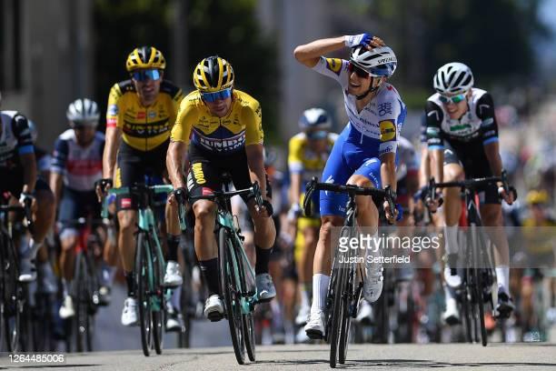 Arrival / Andrea Bagioli of Italy and Team Deceuninck - Quick-Step / Celebration / Primoz Roglic of Slovenia and Team Jumbo - Visma / Tom Dumoulin of...